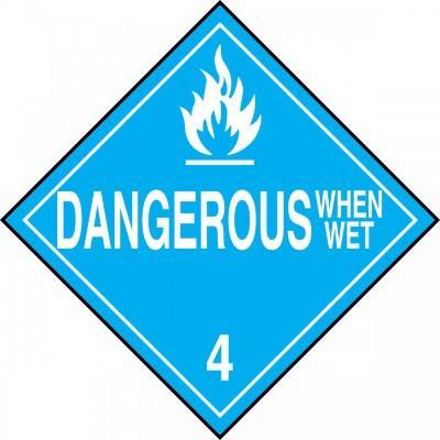 Hazard Class 4 - Dangerous When Wet DOT Placard