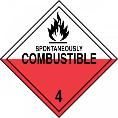 Hazard Class 4 - Spontaneously Combustible DOT Placard