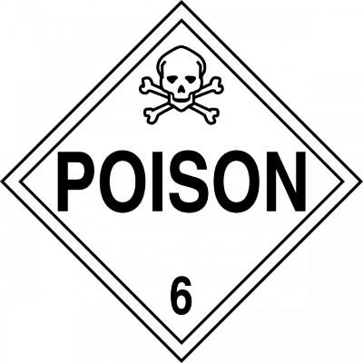 Hazard Class 6 - Poison DOT Placard