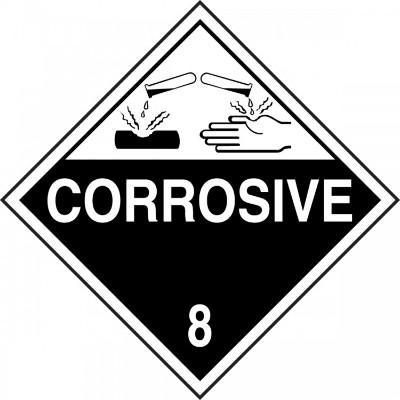 Hazard Class 8 - Corrosive DOT Placard
