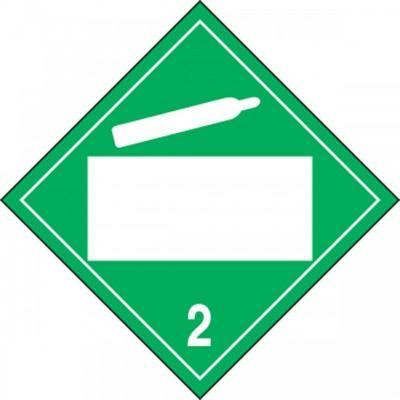 Hazard Class 2 - Non-Flammable Gas Blank 4-Digit Dot Placard