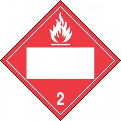 Hazard Class 2 - Flammable Gas Blank 4-Digit DOT Placard