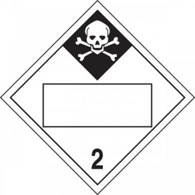 Hazard Class 2 - Inhalation Hazard Blank 4-Digit DOT Placard