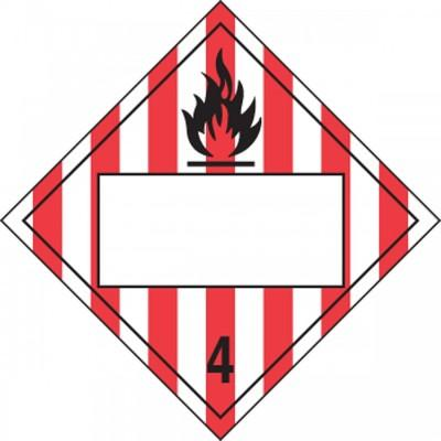 Hazard Class 4 - Flammable Solid Blank 4-Digit DOT Placard