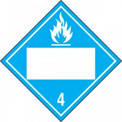 Hazard Class 4 - Dangerous When Wet Blank 4-Digit DOT Placard