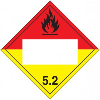Hazard Class 5 - Organic Peroxide Blank 4-Digit DOT Placard