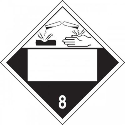 Hazard Class 8 - Corrosive Blank 4-Digit DOT Placard