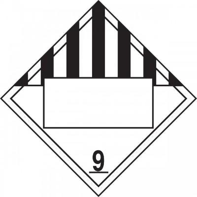Hazard Class 9 - Miscellaneous Dangerous Goods Blank 4-Digit DOT Placard