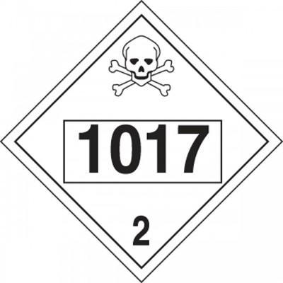 Hazard Class 2 - 1017 Chlorine 4-Digit DOT Placard