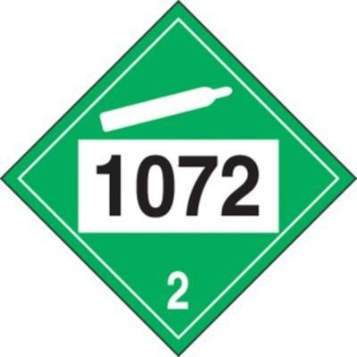 Hazard Class 2 - 1072 Oxygen 4-Digit DOT Placard