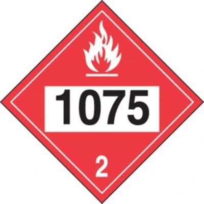 Hazard Class 2 - 1075 Liquefied Petroleum Gas 4-Digit DOT Placard