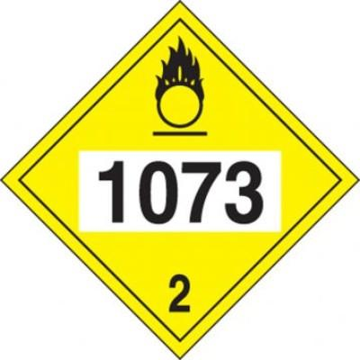 Hazard Class 2 - 1073 Refrigerated Liquid Oxygen 4-Digit DOT Placard