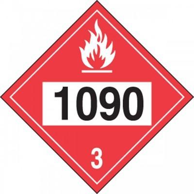 Hazard Class 3 - 1090 Acetone 4-Digit DOT Placard
