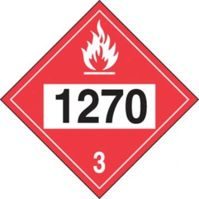 Hazard Class 3 - 1270 Petroleum Oil 4-Digit DOT Placard