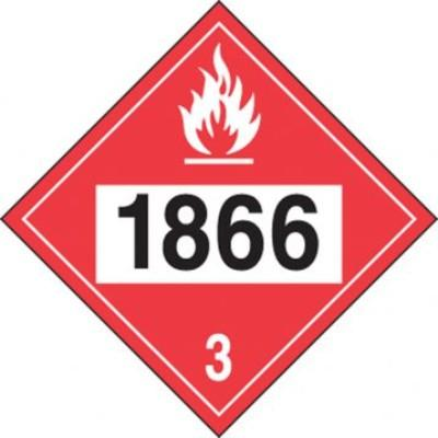 Hazard Class 3 - 1866 Resin Solution 4-Digit DOT Placard