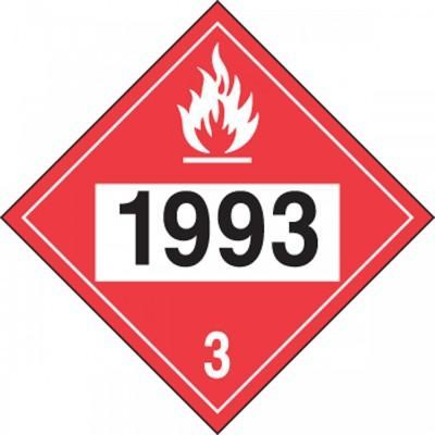 Hazard Class 3 - 1993 Flammable Liquid 4-Digit DOT Placard