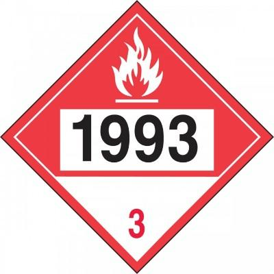 Hazard Class 3 - 1993 Combustible Liquid 4-Digit DOT Placard