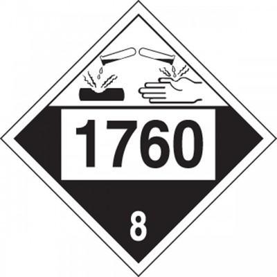 Hazard Class 8 - 1760 Corrosive Liquid 4-Digit DOT Placard