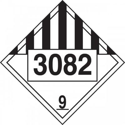 Hazard Class 9 - 3082 Environmental Hazard Liquid 4-Digit DOT Placard