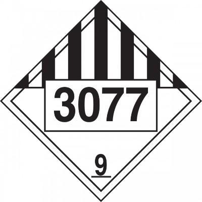 Hazard Class 9 - 3077 Environmental Hazard Solid 4-Digit DOT Placard