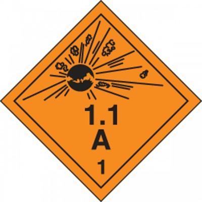 Hazard Class 1 - Explosive 1.1A DOT Shipping Label