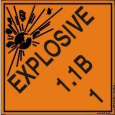 Hazard Class 1 - Explosive 1.1B DOT Shipping Label