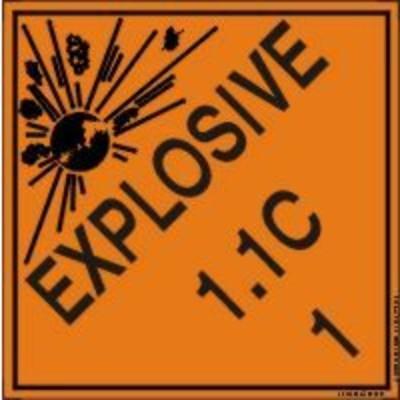 Hazard Class 1 - Explosive 1.1C DOT Shipping Label