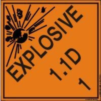 Hazard Class 1 - Explosive 1.1D DOT Shipping Label