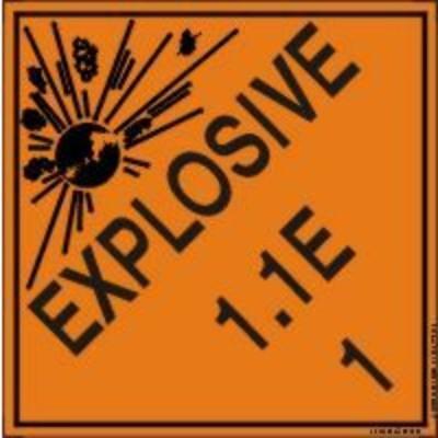 Hazard Class 1 - Explosive 1.1E DOT Shipping Label