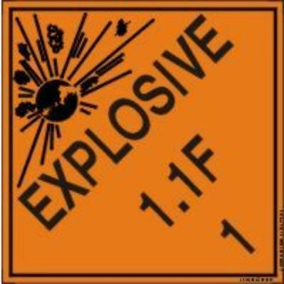 Hazard Class 1 - Explosive 1.1F DOT Shipping Label