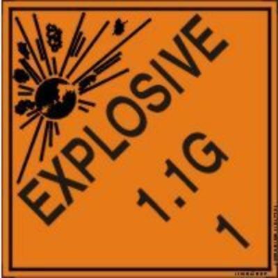 Hazard Class 1 - Explosive 1.1G DOT Shipping Label