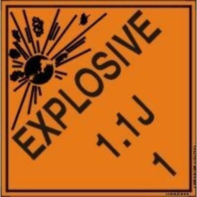 Hazard Class 1 - Explosive 1.1J DOT Shipping Label