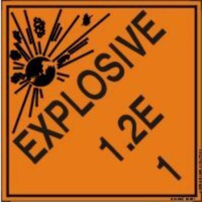 Hazard Class 1 - Explosive 1.2E DOT Shipping Label