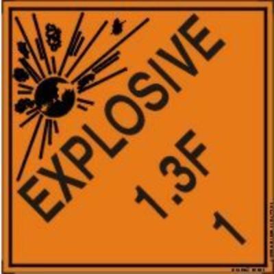 Hazard Class 1 - Explosive 1.3F DOT Shipping Label