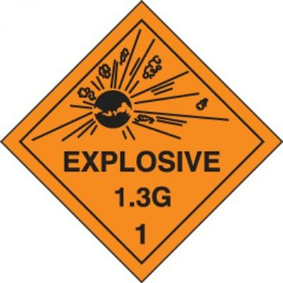 Hazard Class 1 - Explosive 1.3G DOT Shipping Label