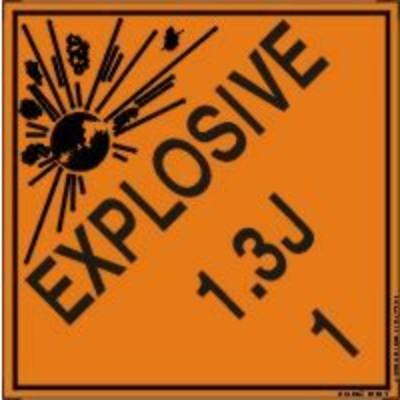 Hazard Class 1 - Explosive 1.3J DOT Shipping Label