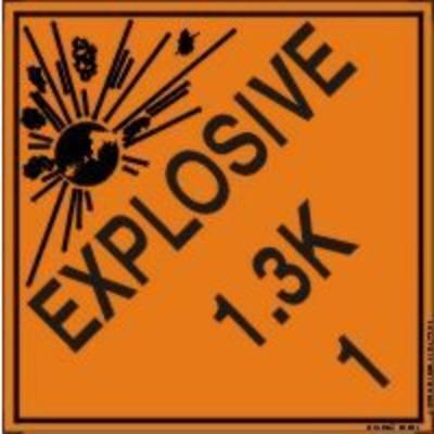Hazard Class 1 - Explosive 1.3K DOT Shipping Label
