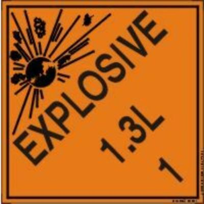 Hazard Class 1 - Explosive 1.3L DOT Shipping Label