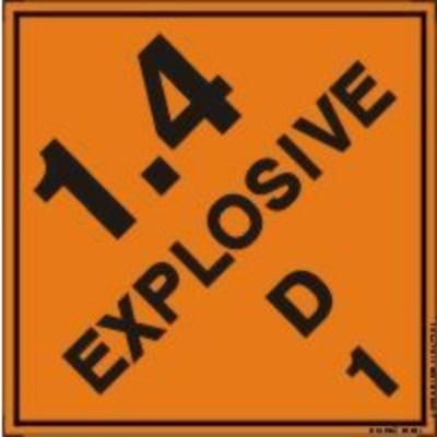 Hazard Class 1 - Explosive 1.4D DOT Shipping Label