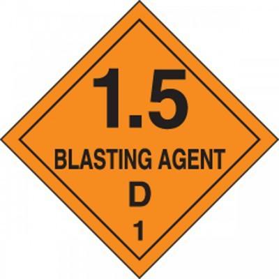 Hazard Class 1 - Blasting Agent DOT Shipping Label