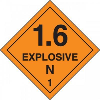 Hazard Class 1 - Explosive N DOT Shipping Label
