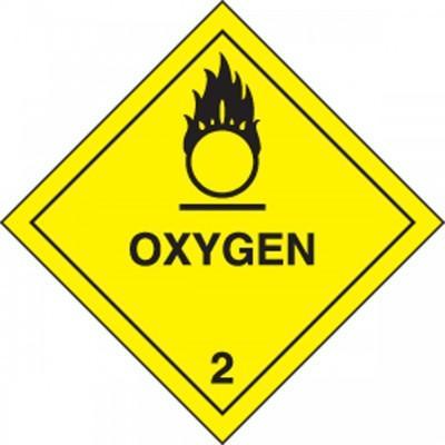 Hazard Class 2 - Oxygen DOT Shipping Label