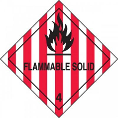 Hazard Class 4 - Flammable Solid DOT Shipping Label