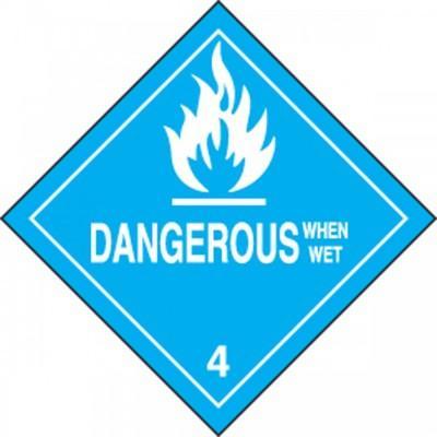 Hazard Class 4 - Dangerous When Wet DOT Shipping Label