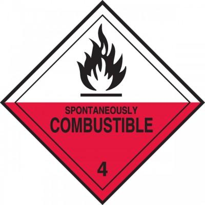 Hazard Class 4 - Spontaneously Combustible DOT Shipping Label