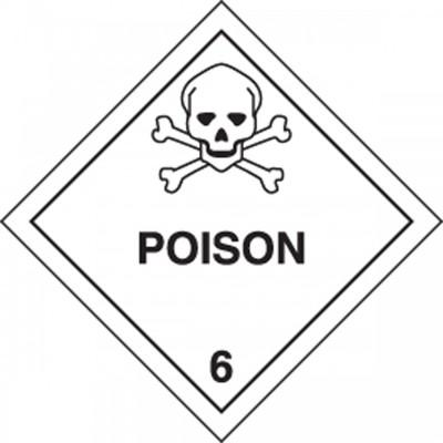 Hazard Class 6 - Poison DOT Shipping Label