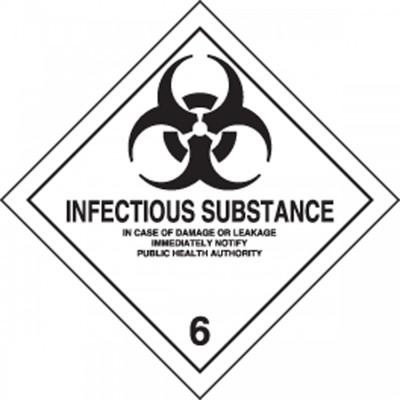 Hazard Class 6 - Infectious Substance DOT Shipping Label