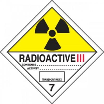 Hazard Class 7 - Radioactive III DOT Shipping Label