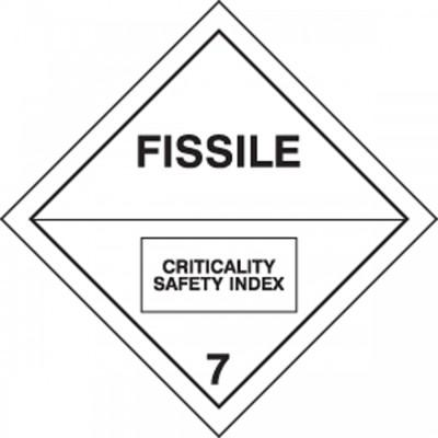 Hazard Class 7 - Fissile DOT Shipping Label