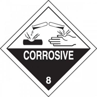 Hazard Class 8 - Corrosive DOT Shipping Label